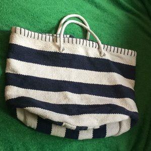 Handbags - Blue white stripe bucket bag tote